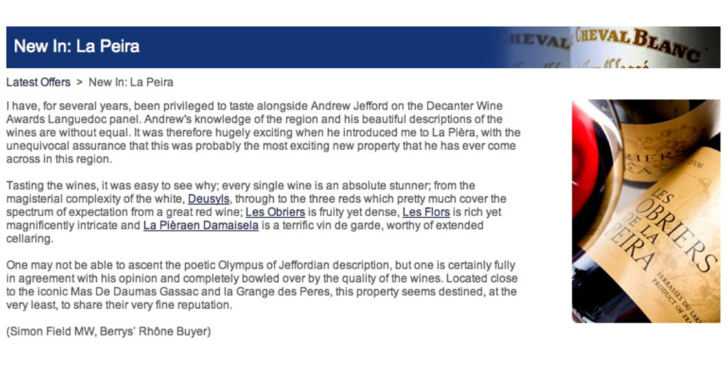 Berry Bros gives La Peira Property a Great Write-up (Just in time for Jeremie Depierre's Birthday)